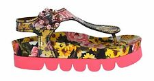 NWT $920 DOLCE & GABBANA Pink Leather Crystal Floral Sandals Shoes EU39 / US8.5