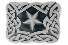 Men Women Belt Buckle Metal Western Texas State Lone Star Silver Filigree Square