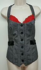Fredericks Of Hollywood Button Up Lace Up Back Corset Bustier Costume Cosplay L