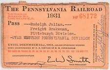 1931 Employee Annual Pass PRR Railroad Railway Pennsylvania Pittsburgh Western