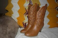Womens 11 M Cato Cognac Slip On Mid Calf High Heel Western Cowboy Fashion Boots