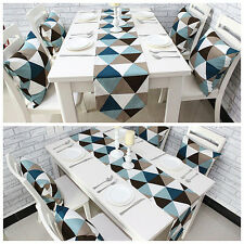 Modern Geometric Triangle Pattern Table Runner Cotton Canvas Fabric Table Top