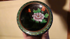 "ANTIQUE 19C CHINESE CLOISONNE ENAMEL PAINTED BOWL ,BRUSH HOLDER""TNE FLOWERS"""