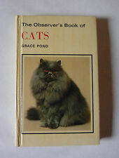 THE OBSERVER'S BOOK OF CATS - 1981 HARDBACK  - NO DJ - GOOD CONDITION