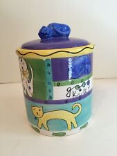 At Home Trish Richman Napping Cat Good Kitty Ceramic Treat Canister Jar FS
