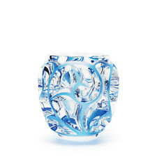 Lalique Tourbillons Vase, Clear Blue Painted