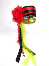 HAPPY HALLOWEEN WOMENS RED BLACK GOLD FANCY THEATRE MASQUERADE PIRATE MASK NEW