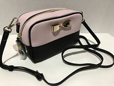 Victoria's Secret Cosmetic Makeup  Crossbody Bag Black Pink With Gold Bow. New.