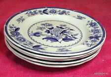 "{SET OF 5} Spode Copeland (Heron - Blue) 9 1/8"" LUNCHEON PLATES crazed"