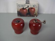 NIB Euroware Highy Finished Hardwood Apple Peppermill & Salt Shakers #115Z
