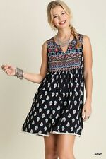 Chic UMGEE Navy PRINTED Boho Tribal Southern Country Babydoll SUN Shift Dress S