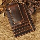 Genuine leather Money Clip ID Credit Card Case Holder Slim Wallet Front Pocket