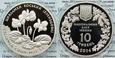 RARE 2014 Ukraine 10 UAH PROOF 1 OZ Silver Flower Cyclamen-mintage 3000