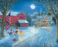White Mountain Puzzles Moonlight Greeting-1000 Pc Christmas Winter Jigsaw Puzzle