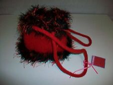 In the Bag Productions Wool Handbag Purse Red and Black