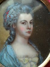 Antique portrait miniature painting of lady very detailed