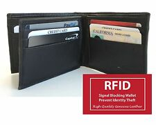 RFID SAFE LEATHER ID Center Flap Hipster Big Card 12 Slot Men's Bifold Wallet