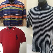 Ralph Lauren Polo Mens Large 3 shirts Red Big Pony Blue Stripe Orange Multi