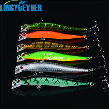 New Lot 6pcs Minnow Fishing Lures Floating Rattles Bass CrankBait Hooks Tackle