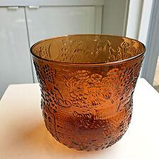 VINTAGE IITTALA FAUNA Tall GLASS BOWL VASE OIVA TOIKKA Garden Eden Amber Brown