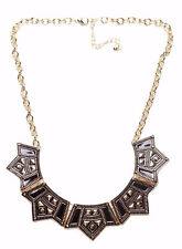 PETER PAN COLLAR NECKLACE, BLACK & GOLD DESIGN GEOMETRIC PATTERNS (ZX55)