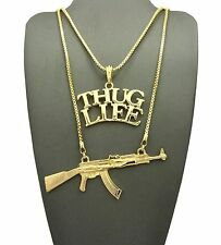 "Hip Hop Rapper's Thug Life & Gun Pendant 24"",30"" Box Chain 2 Necklace Set GN076G"