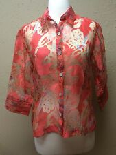 Mirasol Colorful Pink Sheer 3/4 Sleeve Button Down Shirt Blouse Size Medium M