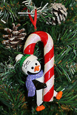 Personalised Christmas Tree Ornament Decoration - Candy Cane Penguin