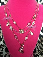 Betsey Johnson Vintage Ski Bunny Winter Snow Ice Skate Mitten Bow Pearl Neckace