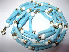 PRETTY VINTAGE 1950's 3 Row Pale BLUE Marbled LUCITE Early Plastic BEAD NECKLACE
