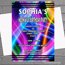 Personalised Neon Bright Childrens Birthday Party Invitations x 12 +envs H1536