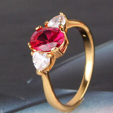 Ladies 24k Gold Filled Lovely Ruby & CZ Ring Size 8
