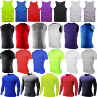 Mens Compression Under Base Layer Thermal Shirt Tops Gym Fitness Tight T-Shirts