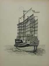 1936 SAILING SHIP PRINT ~ A CHINESE JUNK OF 1850
