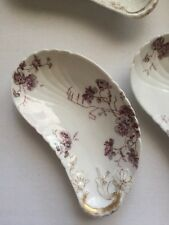 Vtg Lot 6  Haviland Limoges France Crescent Bone Dishes Purple Floral Gilt