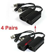 4 Pairs CCTV Coax BNC Video Power Balun Transceiver to CAT5e 6 RJ45 Stackable