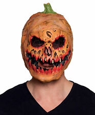 MENS SCARY PUMPKIN MASK JACK LANTERN EVIL LATEX HALLOWEEN FANCY DRESS HORROR NEW