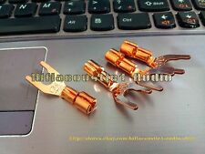 4x CMC 6005 Red Copper Plated Speaker Cable Y Solder Spade Plug Connector
