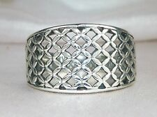 Sterling Silver .925 Wide Band Mesh Fashion Ring-Size 8
