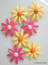 SWEET 7pc COLLECTION 1960s 70s VINTAGE METAL ENAMEL DAISY FLOWER PINS BROOCH