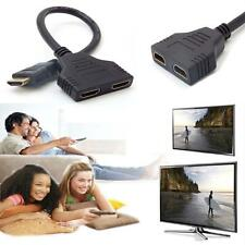 1080P HDMI 1 Male To Dual HDMI 2 Female Y Splitter Cable Adapter for HDTV LCD LN