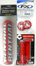 "Renthal Red 10"" Crossbar Bar Pad ODI Ruffian MX Grips Grip Donuts Set CRF CR XR"