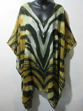 Top Fits XL 1X 2X 3X 4X 5X Plus Black Gold Leopard Sheer Caftan Long Tunic NWT