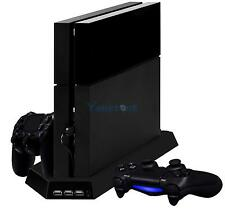 Black USB Cooling Fan Vertical Stand + 2 Controller Charging Dock for Sony PS4