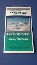 West Jet Airlines Emergency Card For Boeing 737-600/700 (2014 Edition)