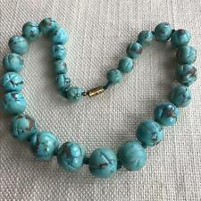 Vintage 125g CARVED TURQUOISE BEADS large heavy interesting