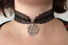 Large Pentagram Black Lace Choker - Gothic Gift - Witch - Halloween
