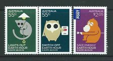 AUSTRALIA 2009 EARTH HOUR GREEN ISSUE SET 3 UNMOUNTED MINT, MNH