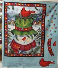 "1 Springs ""Happy Snowman"" Christmas Lap Quilt/Wallhanging fabric Panel"