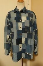 NWT ET VOUS Patched Pieced Blue Jean DENIM Button Shirt Size Small
